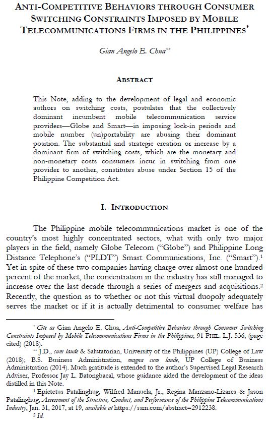 Anti-Competitive Behaviors Through Consumer Switching Constraints Imposed By Mobile Telecommunications Firms In The Philippines