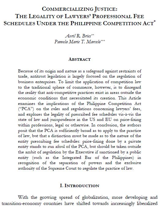 Commercializing Justice:  The Legality Of Lawyers' Professional Fee Schedules Under The Philippine Competition Act