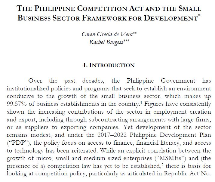 The Philippine Competition Act and  the Small Business Sector Framework for Development