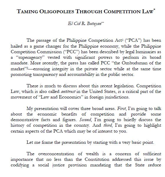 Taming Oligopolies Through Competition Law