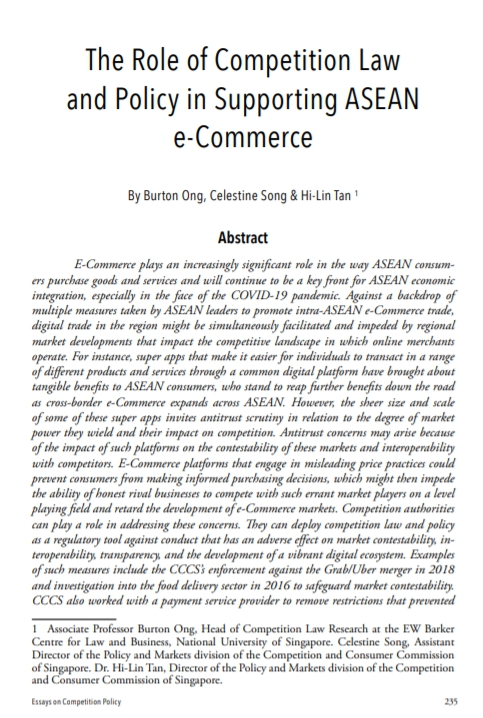 The Role of Competition Law and Policy in Supporting ASEAN e-Commerce